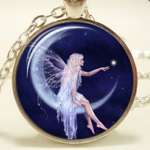 Fairy necklace on crescent moon